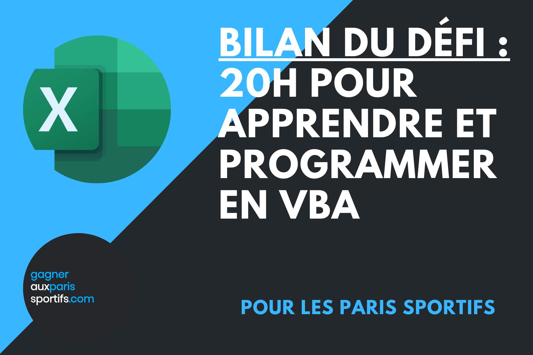 Défi _ 20h pour apprendre et programmer en VBA (bilan du défi)