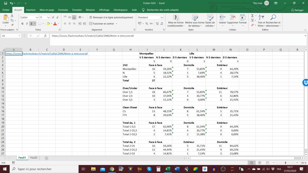 Projet Excel h2h